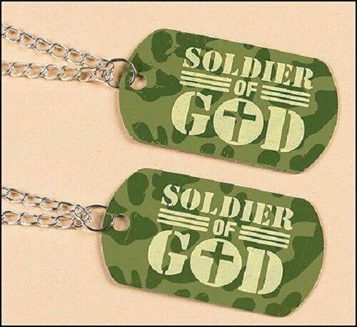 Camouflage Soldier of God Dog Tag with a FREE St. Michael Prayer Card