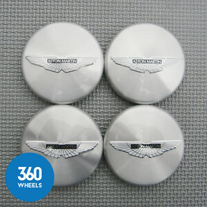 4-x-NEW-GENUINE-ASTON-MARTIN-POLISHED-SILVER-BLACK-CENTRE-CAPS-HUB-8D33-1A096-A