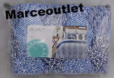 Martha Stewart Collection Indigo Dream KING Reversible Cotton Quilt & Shams Blue