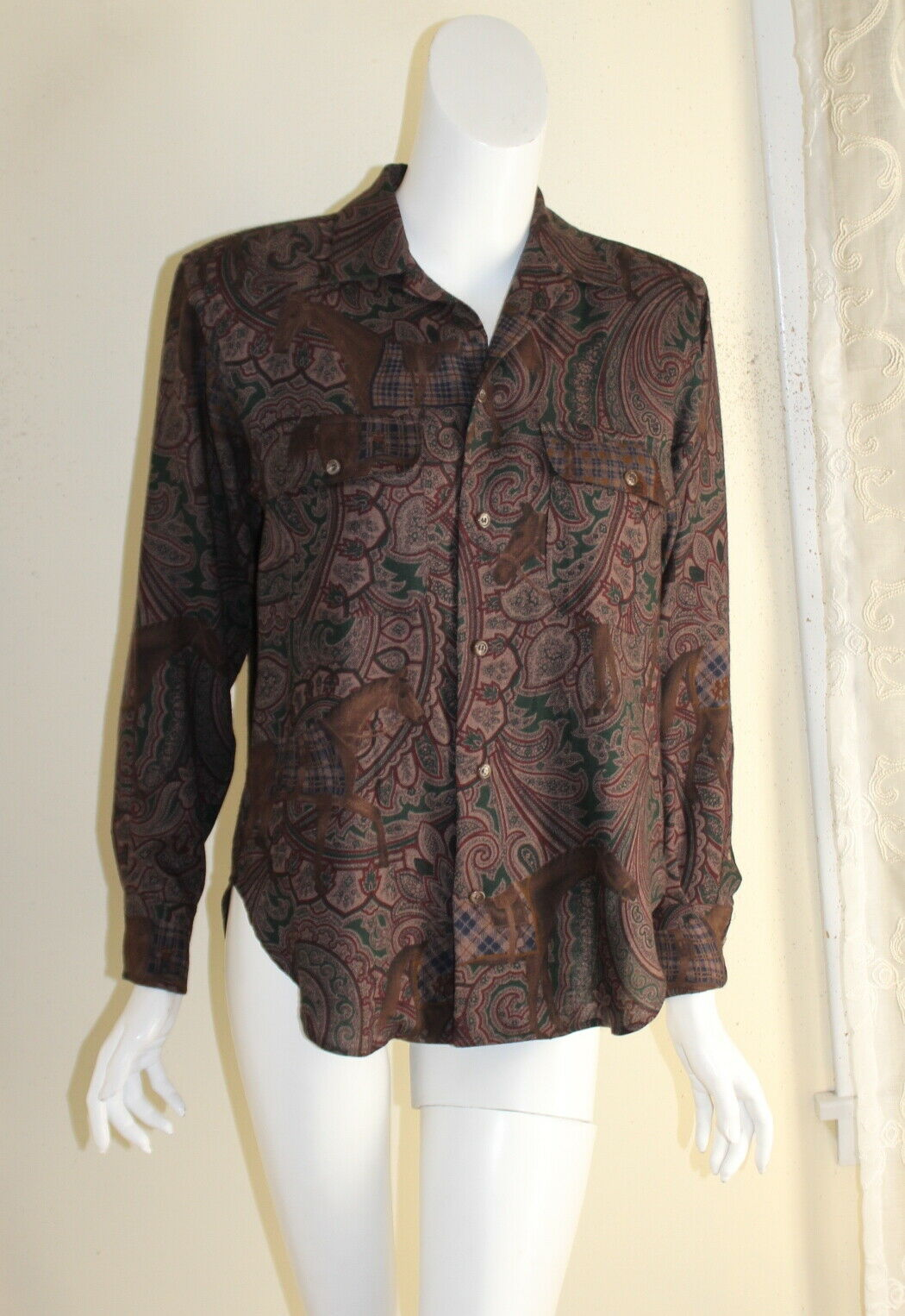 Ralph Lauren -lila Label 4 Vtg Exquisite Fine Wool Silk Equestrian Shirt Top