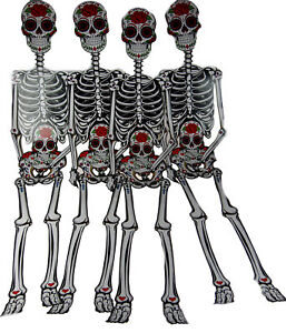 Set Of 4 XL Giant 141cm Jointed Skeleton Hanging Wall ...
