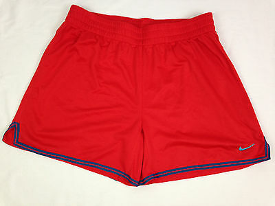 Nike Womens Shorts M 8-10 Size Dri Fit Red Blue Fitness Yoga Running Athletic