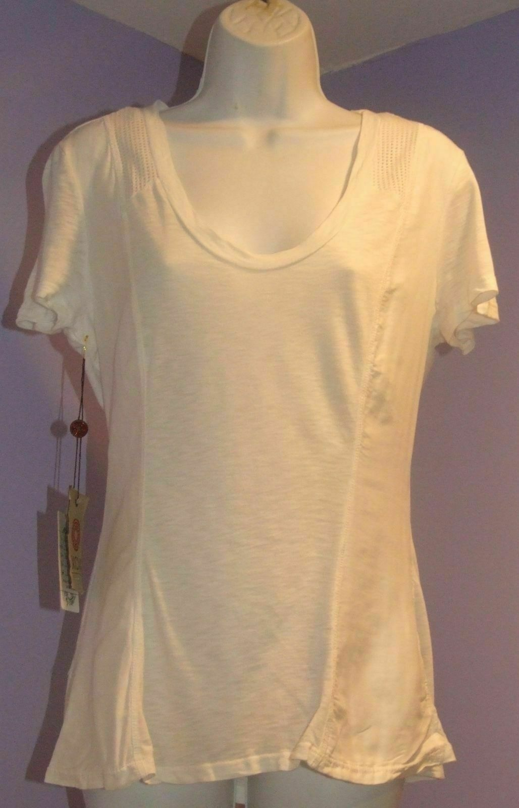 NEW Womens XCVI White T-Shirt w Mesh on Shoulders L