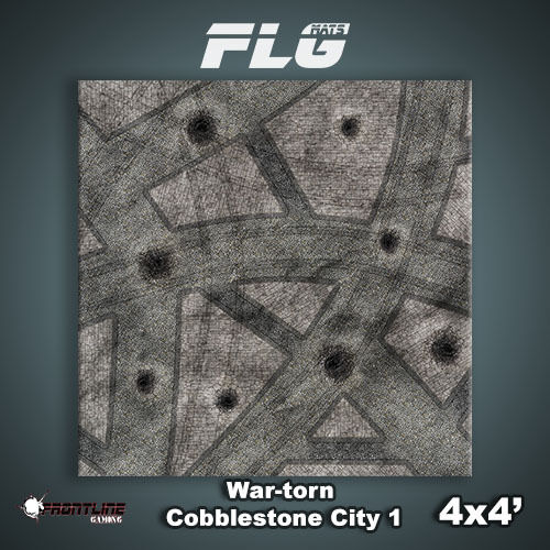 FLG Mats  War-Torn Cobblestone 4x4 High Quality Neoprene Tabletop Gaming Mat
