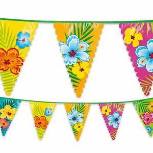 6-m-plastique-Bunting-Garland-FANION-DRAPEAU-Hawaiian-Hibiscus-Summer-Garden-Party