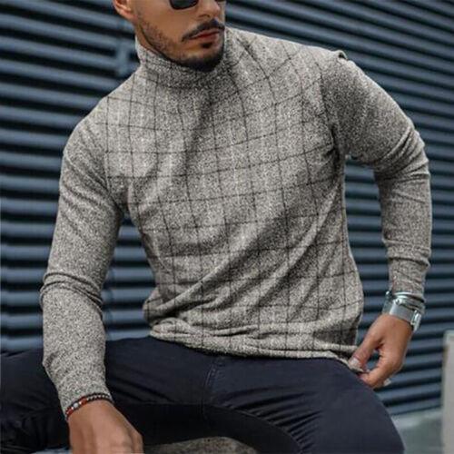 Winter Men/'s Turtleneck Knitted Pullovers Solid Color Warm Slim Fit Jumper Tops