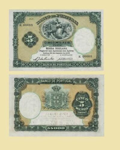 UNC Reproductions Azores 5 Mil Reis 1905