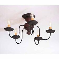 Thorndale 5-arm Flush Mount Wooden Ceiling Light in Hartford Red w/ Black