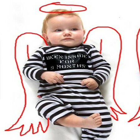Babygrow Been Inside for 9 Months Genuine Oh Baby London Black /& White Playsuit