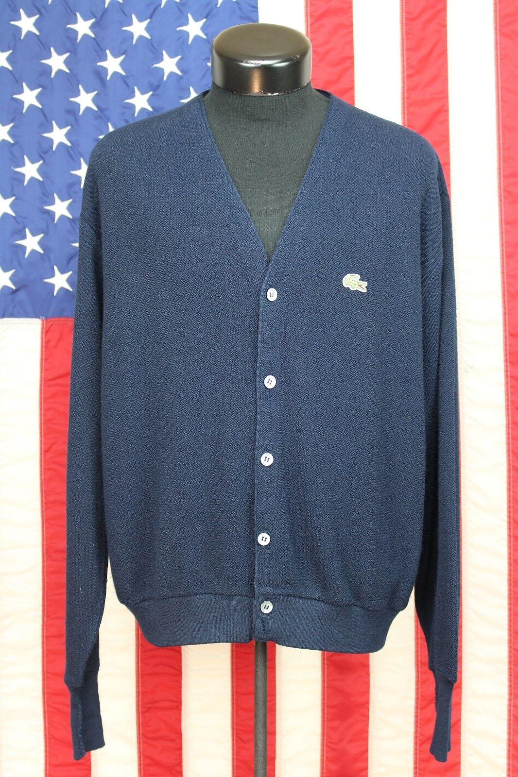 Men Izod Lacoste Made USA Carigan L Shirt Sweater Long Sleeve bluee Gator Tennis
