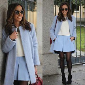 Abrigo azul claro de zara