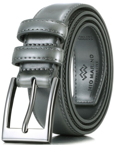 Mio Marino Men/'s Genuine Leather Dress Belt with Single Prong Buckle