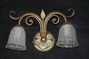 Applique lampada per parete ferro battuto oro argento antico made