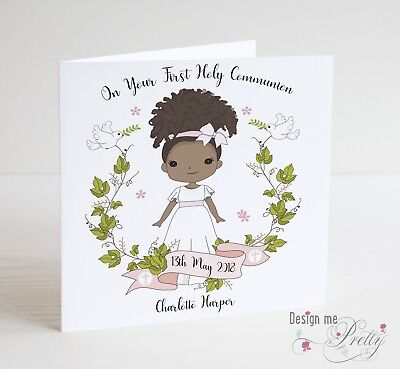white and ivory First Holy Communion Handmade personalised card girl
