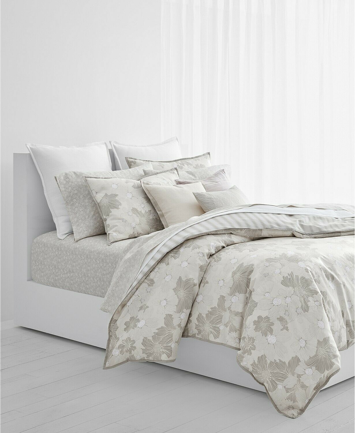 Ralph Lauren Home Allaire FULL QUEEN 3-PC Comforter Set grau Floral Cotton  385N