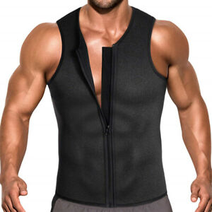 Men-039-s-Sweat-Waist-Trainer-Zip-Vest-Weight-Loss-Top-Neoprene-Body-Shaper-Slimming