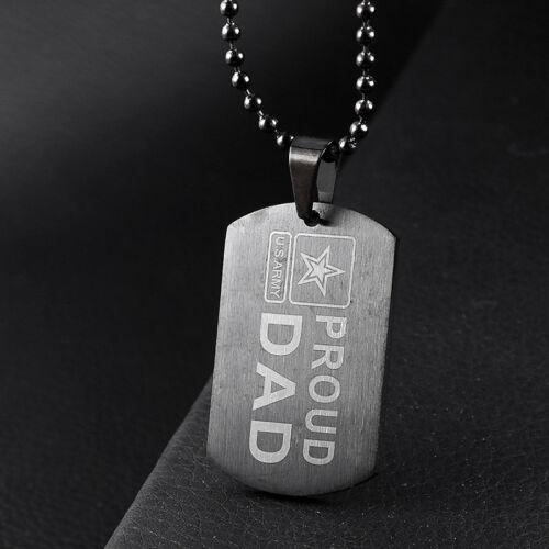 Acier Inoxydable Army ID Dog Tag militaire Pendentif Chaîne Argent Vouge Collier À faire soi-même