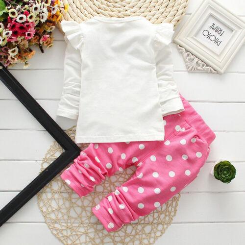 Newborn Baby Girls Minnie Mouse Outfits Clothes T-shirt Tops Long Pants 2PCS Set