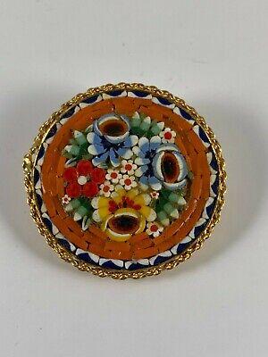 Small size Italian flower brooch Vintage micro mosaic brooch pin