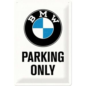 Blechschild-BMW-Parking-Only-White-Nostalgie-Schild-30-cm-NEU-metal-shield