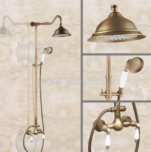Antique Brass Bathroom Rain Shower Faucet Set Dual Handle Mixer Tap Pan516
