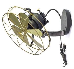 12-034-Blades-Brass-Wall-Mount-Fan-Oscillating-Work-3-Speed-Vintage-Antique-style