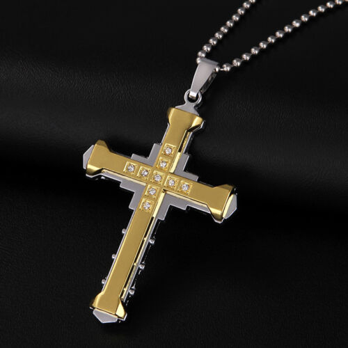 Exquisite Jesus Cross Necklace Bling Bling Faux Diamond Pendant Necklace Shan