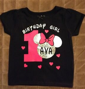 Image Is Loading CUSTOM Minnie Mouse Birthday Shirt Black Or White