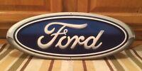 Ford Emblem Badge 20 X 8 Metal Bar Logo Home Decor U.s.a. Garage Man Cave