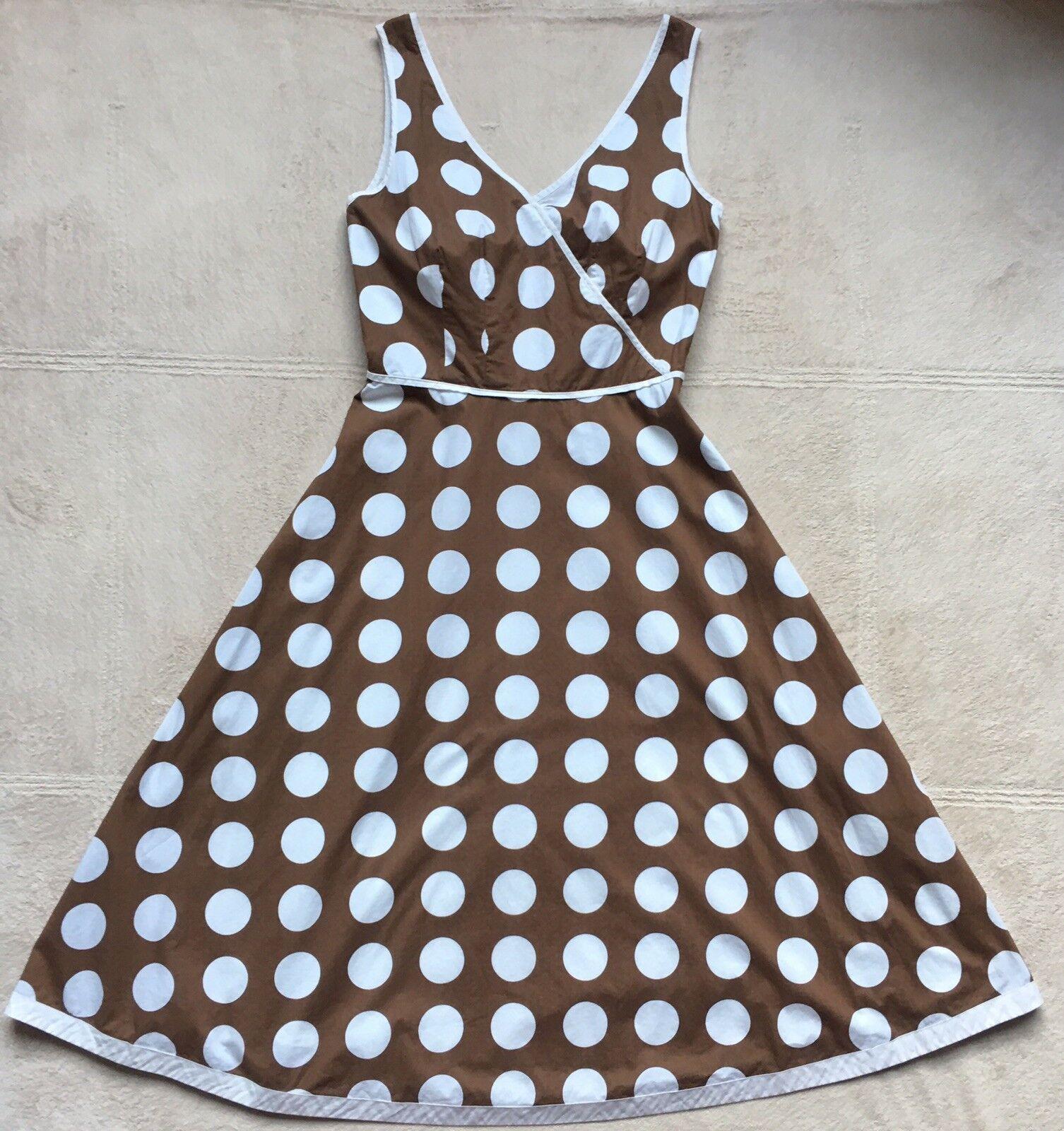 Boden Women's Sleeveless Flare Dress Size 4 Brown & White Polka Dots 100% Cotton