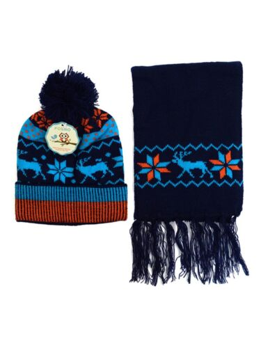 Kids Boys Girls Snowflake Reindeer Pom Beanie Hat and Scarf Set