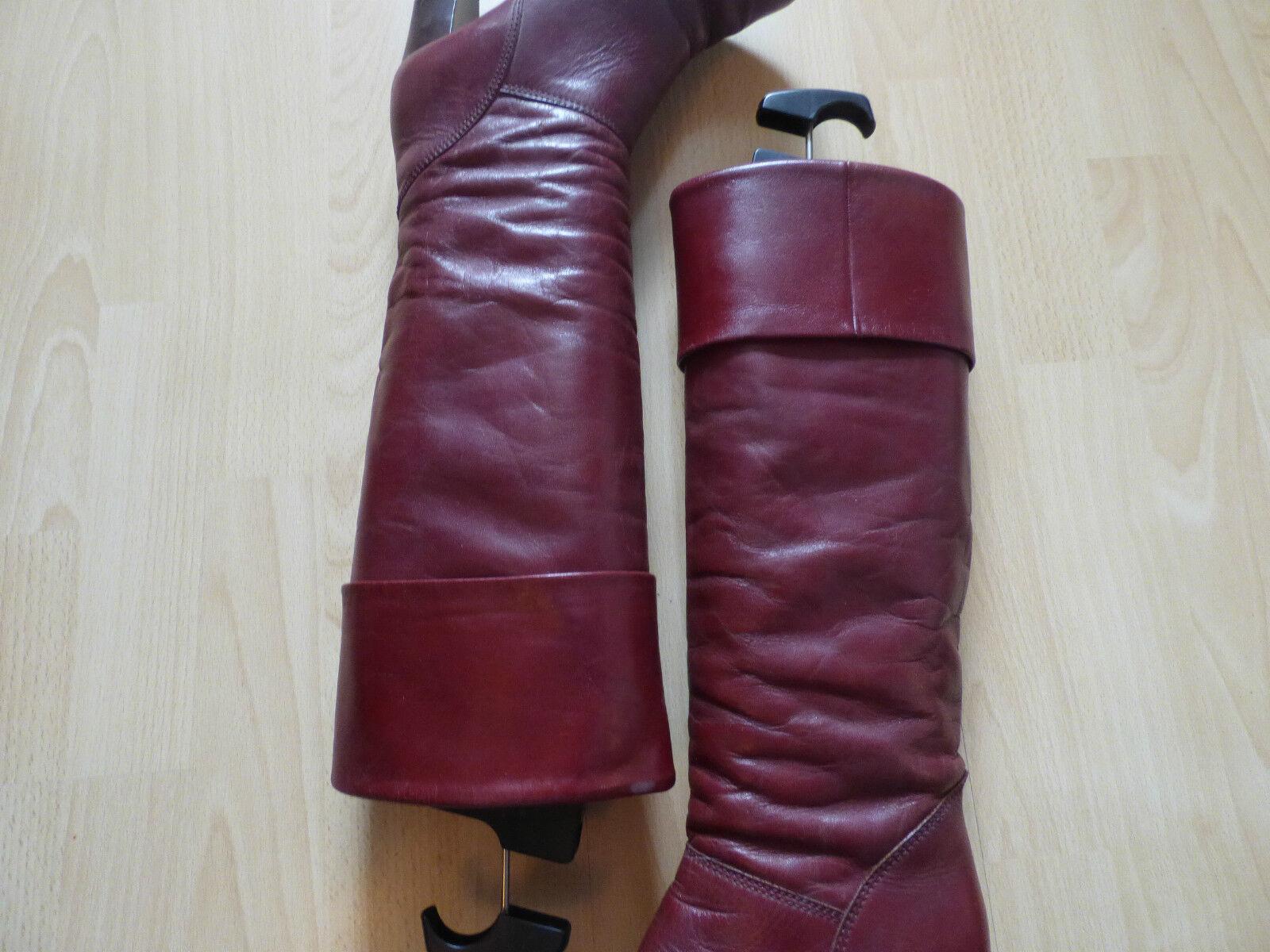 Vintage Leder Slouch Stiefel, Gr. 38 in Rot Bordeaux
