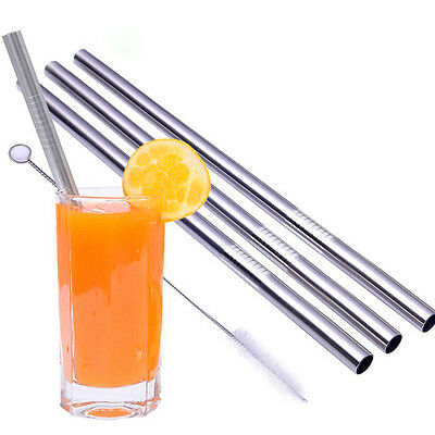 4PCS Metal Drinking Stainless Steel Straw Straight Straws & 2 Cleaner Brush HOT