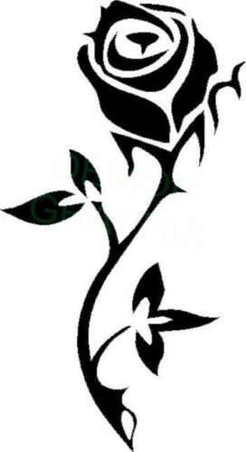 Single Stemmed Rose with leaves vinyl decal//sticker flower love friendship