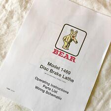 Bear Operating Maintenance Amp Parts Manual 1469 Disc Brake Lathes