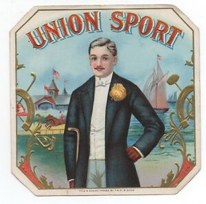 1890s Union Sport Outer Cigar Label with Dapper Man Horse Racing