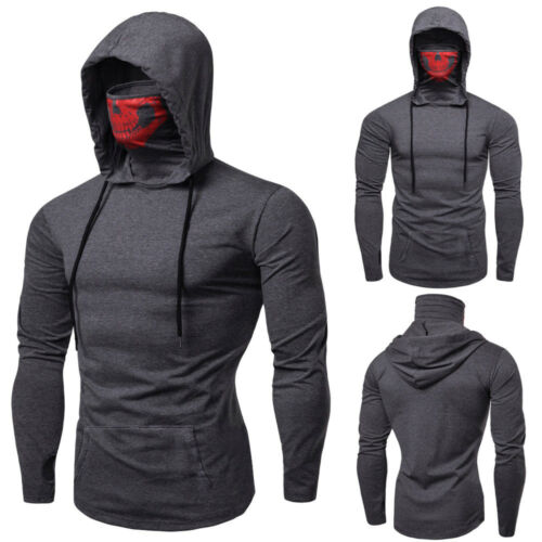 Mens Mask Skull Slim Fit Pullover Autumn Winter Hooded Sweatshirt Tee Top Blouse