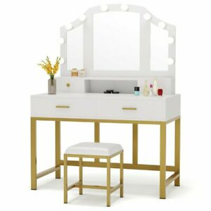 White Gold Vanity Set With Mirror 4 Drawers Stool 10 Led Lights