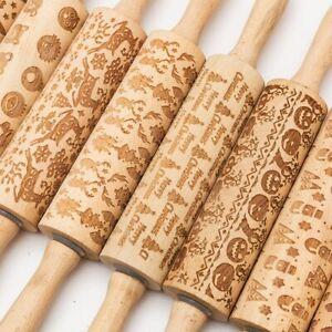 Wooden-Embossing-Rolling-Pin-for-DIY-Baking-Cookies-Cake-Pastry-Fondant-Xmas-UK