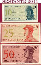 INDONESIA  -  SET 10 + 25 + 50 SEN 1964  -  P 92 + P 93 + P 94  -  FDS / UNC