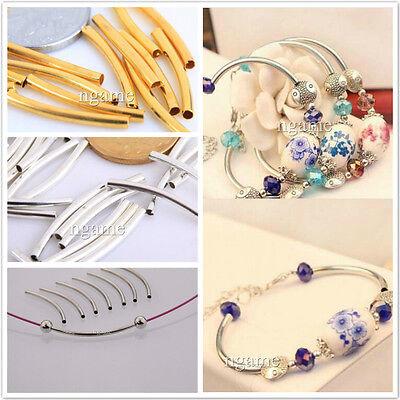 Gros Lot 100Pcs Création Bracelet Perle Tube Nickel Courbes Cuivre Lisse Bijoux