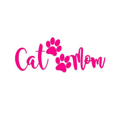 "Vinyl Decal Window Sticker 7/"" HOT PINK CAT MOM V3"