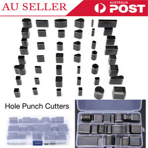 39pcs Hollow Hole Space Cutter Punch Set Handmade Leather Punching Tool AU Stock
