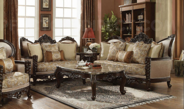 Classic Victorian Carved Antique Style Luxury Living Room Sofa Loveseat Set For Sale Online Ebay