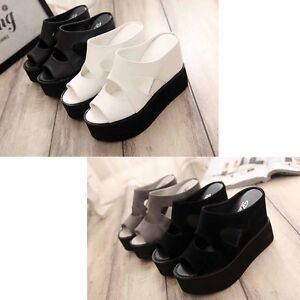 Women-Summer-Slipper-Fish-Mouth-Wedges-Sandals-Flat-Flops-High-heel-Shoes