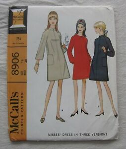 Vintage Dress Sewing Pattern*McCalls 8906*Size 16*UNCUT/FF*retro 60s*long sleeve