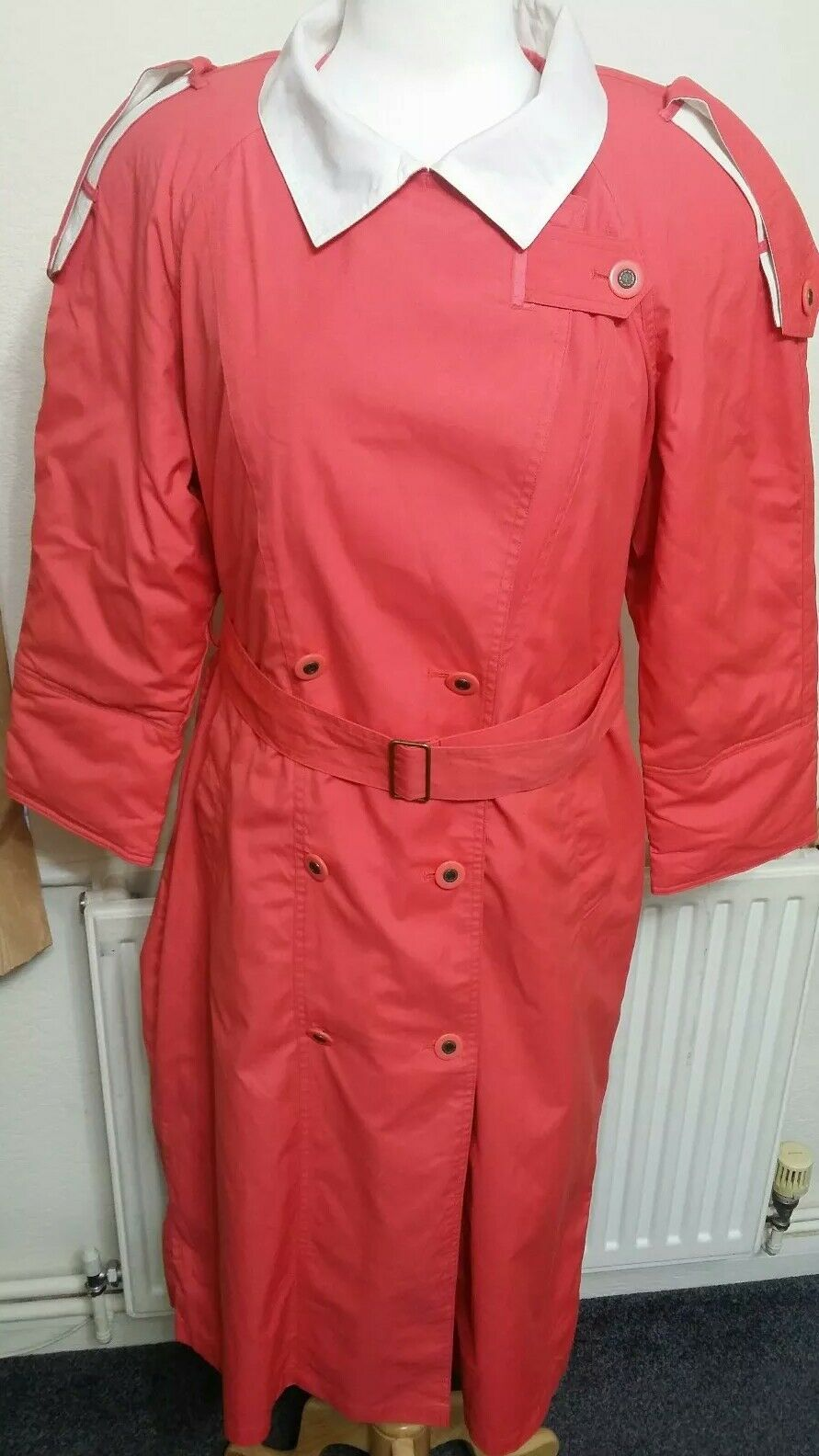 Vintage MISTY HARBOR Women Double Breasted Shoulder Padded Trench Coat pink Sz M
