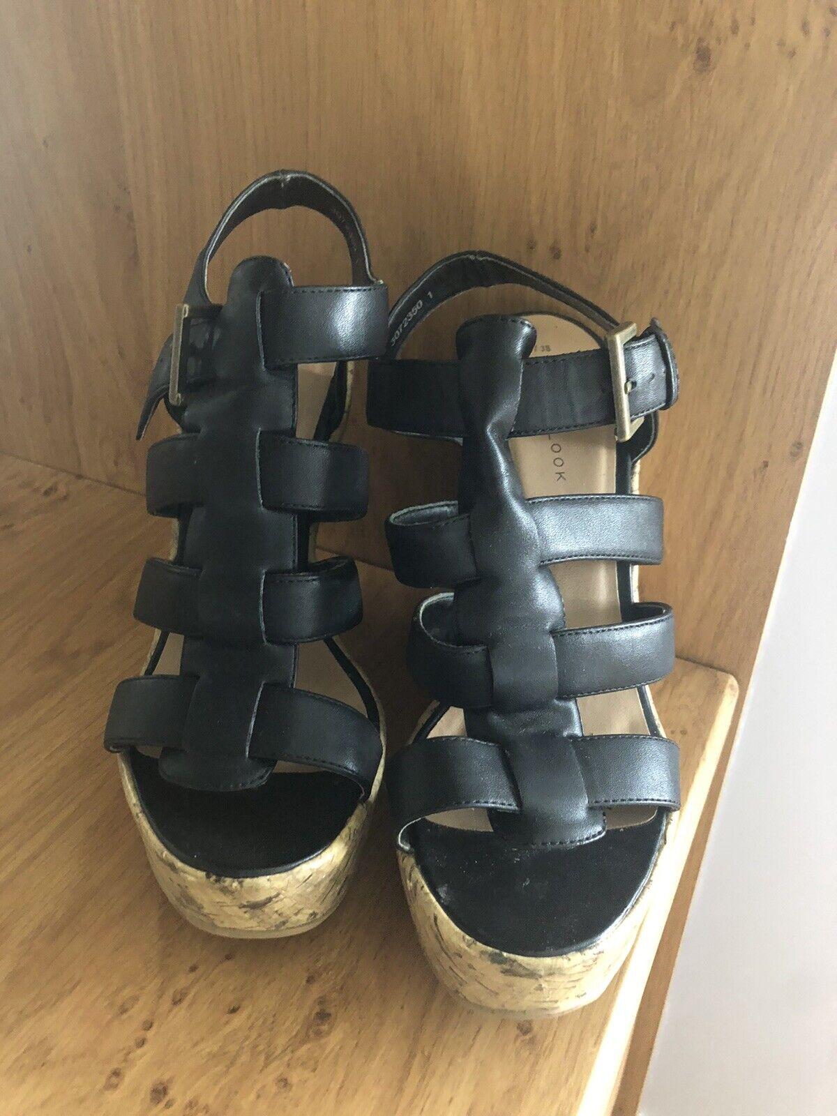 New Look Black Size 5 Cork Heels