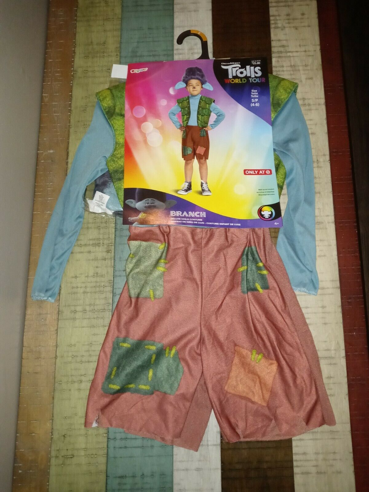 Disguise Boy's Deluxe Trolls World Tour Branch Costume Size S 4-6 Multi-Color