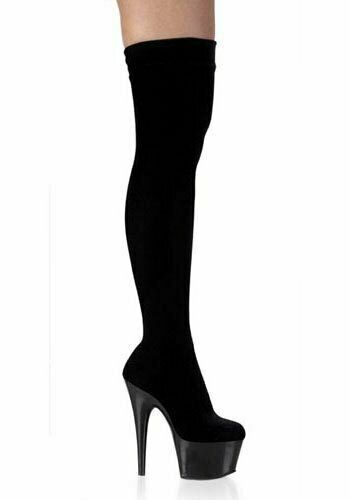 6 1 2 Inch Heel Thigh-High Boot Women'S Size shoes With Stretch Velvet